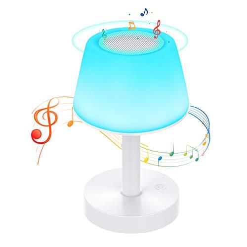Lámpara de Mesa, Luz de Noche LED con Altavoz Bluetooth, Control Tactil,...