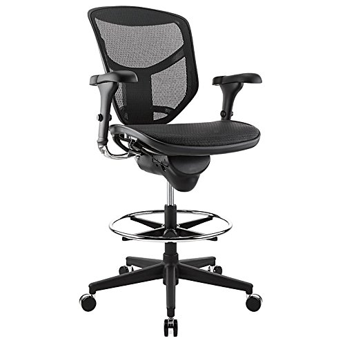 WorkPro Quantum 9000 Series Ergonomic Mesh Mid-Back Stool Chair, Black