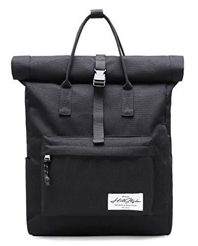HotStyle KAZIM 17 Zoll Rolltop Rucksack Reisetasche für 17-Zoll Laptop, Schwarz