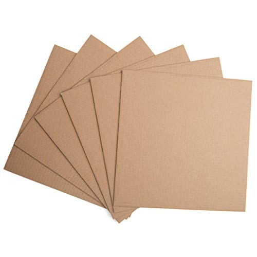 KARRES 24 Packs 12x12 Inches Brown Kraft Paper Corrugated Cardboard Sheets Inserts for Packing, Mailing, Crafts Squared Size
