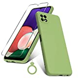 PULEN Funda para Samsung Galaxy A22 5G con 1 Cristal Templado Protector de Pantalla & 1 Silicona Dedo Anillo, Silicona Carcasa, Anti-Choques, Anti- Arañazos,Slim Delgada,Tacto Suave - Verde Matcha
