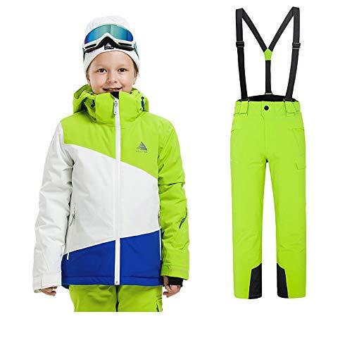Sunbaby Skianzug Kinder Jacken und Hosen Winter Ski Set Winddicht wasserdicht Skianzüge (Junge Grün+Grün, 120/6 Jahre)