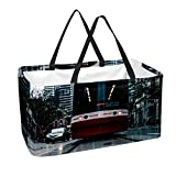 Bennigiry Park - Bolsa reutilizable para silla de madera, bolsa de compras plegable, caja de compras, organizador de almacenamiento resistente con asas y parte inferior reforzada, 50 l