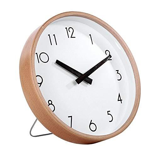 FortuneVin - Reloj de Pared Redondo de Madera Maciza con 10 Pilas, Buchenholz Zeiger Digitale Chicken Wings