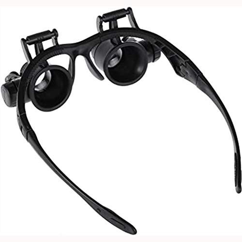 Brille Lupe 10X 15X 20X 25X Vergrößerung,LED Licht Stirnband Lupe Lupenbrille LED Kopfband Lupen Stirnband Brille Lupen Verstellbare für Juweliere Uhrmacher Brillenträger, Lesen, Handwerk, Juweliere,