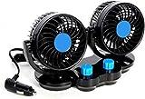 12V Dual Head Car Fans, 360° Rotatable Mini Cooling Fans for Golf Cart, Powerful Quiet Dashboard Fans Cigarette Lighter for Small Car & Medium Car