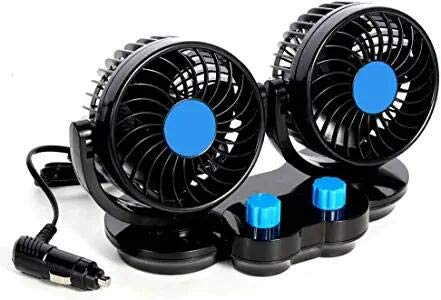 12V Dual Head Car Fans, 360° Rotatable Mini Cooling Fans for Golf Cart, Powerful Quiet Dashboard Fans Cigarette Lighter for Small Car & Medium Car