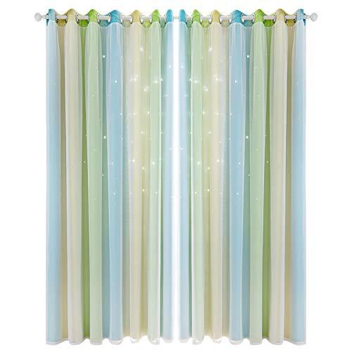 BOxinkk Vorhang mit Garn,Hohlsternvorhang mit Farbverlauf,Schlafzimmer Vorhänge,Wohnzimmer Vorhänge,Verdunkelungsvorhänge 2500 * 1000mm/8.21 * 3.29ft (Piece) (Grün)