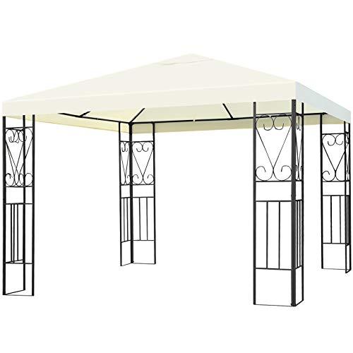 Tangkula 10x10 Feet Steel Patio Gazebo, Outdoor Canopy Gazebo with Water-Resistant Canopy, Powder Coated Steel Structure, Sun Shading Canopy Gazebo for Patio, Yard, Garden