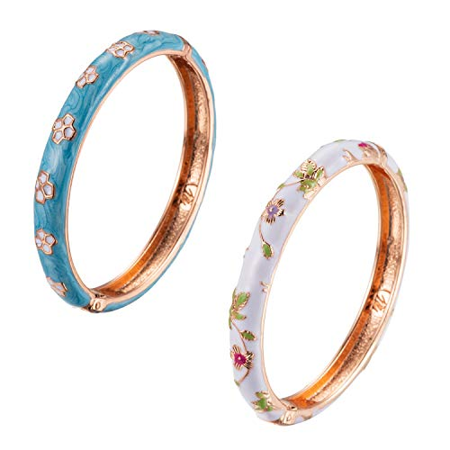 UJOY Colored Bracelet Jewelry for Women Vacation Gift Enameled Cloisonne Bangles Gold Plated