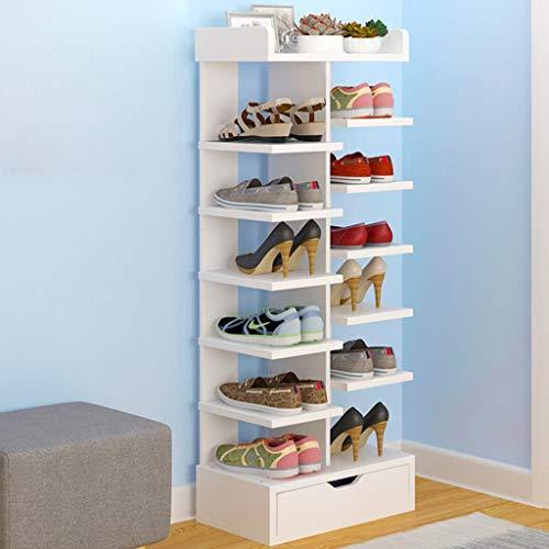 Zapatero Organizador Ajustable de 7 Niveles Escalonado MDF a 15 Pares Estantes del gabinete de Almacenamiento de Zapatos con Piezas de Repuesto fáciles de Montar (Color : White)