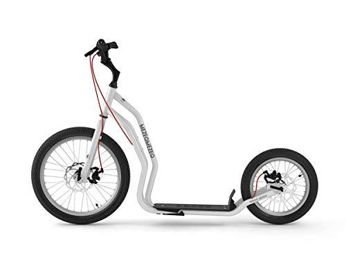 Yedoo Mezeq Tretroller - bis 150 kg, mit Luftreifen 20/16 - Roller Scooter für Erwachsene, Offroad Tretroller mit Ständer und verstellbaren Lenker, Dogscooter mit Scheibenbremse, weiß
