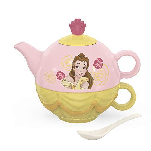 Zak Designs Disney Princess Sculpted Ceramic Set with Lid, Pot, Cup, and Spoon Perfect for Kids' Tea Parties and Stackable for Storage, 4-Piece, Beauty and the Beast-Belle