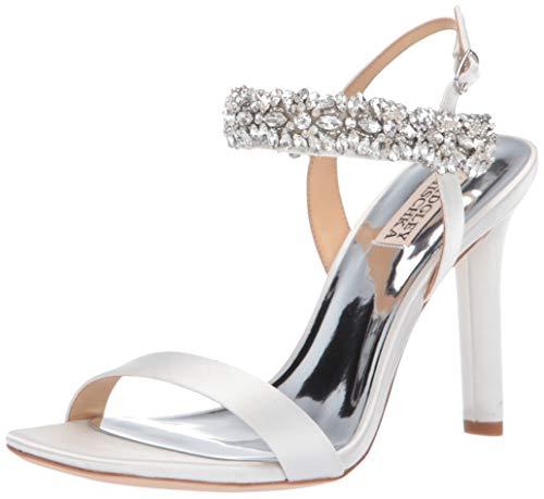 Badgley Mischka Women's Lilly Heeled Sandal, White Satin, 5 M US