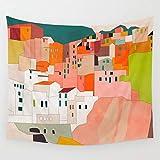 PPOU Italia Costa Casa Tapiz escénico Colgante de Pared Grecia Isla de Santorini Pintura Tapices de Pared Decoración del hogar Decoración de Arte A9 150x200cm
