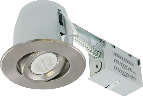 Liteline RC402C18R3-LED-EW-BN All-in-One 4-inch LED Recessed Combo with Remodel Housing, 6W LED PAR16 lamp, Gimbal Trim, Brushed Nickel