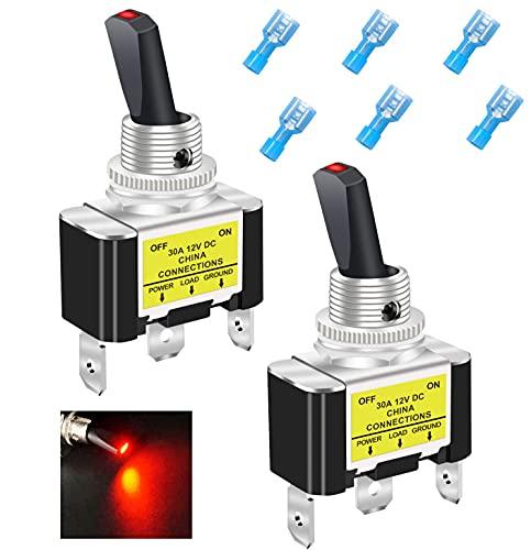 Taiss/2 Stück Kippschalter rote LED Wippschalter 30A 12V DC SPST EIN/AUS 3Pin Mit Terminal, Für Auto Oder Boot ASW-07D-2-R-DZ
