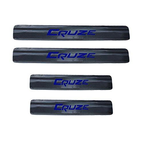 4PCS Accessories 3D Carbon Fiber Black Car door Plate Door Sill Scuff Plate Cars Sticker Anti-kick Scratch For Chevrolet Chevy Cruze Sedan Hatchback 2009-2015 Auto Car-styling (blue)