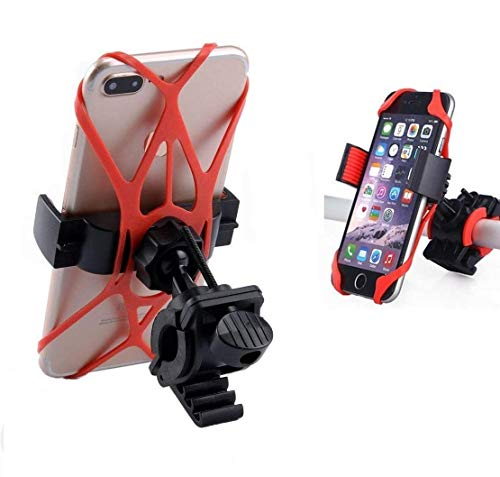 BKN® Bicycle Motorcycle Silicon Mobile Holder Bracket Stand for Adventure Tracking Travelling Navigation with Perfect Firm Grip Mobile Holder Size Upto 6.5: Inch - (Black)