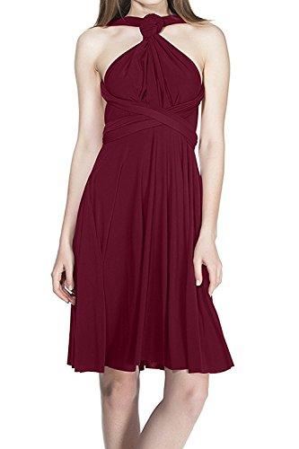 FYMNSI Vestido de Fiesta de Mujer Dama de Honor de la Boda Convertible Multiway Vendaje V-Cuello Sin Mangas Corto de Boho Ceremonia Vestidos de Cóctel Elegante Transformadas Verano Dress Rojo Vino S