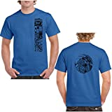 Ori Active Polynesian/Samoan Men's Short Sleeve Heavy Weight Cotton T Shirt with Tattoo Print - Mahina Collection - Sizes up to 5XL (Royal, 2XL)