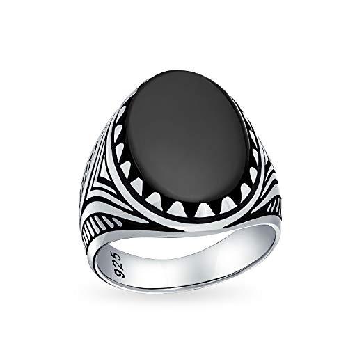 Hombres Signet grande negro ónix ovalón cabujón piedra preciosa anillo de la garra para los hombres adolescente sólido oxidado 925 plata hecha a mano en Turquía