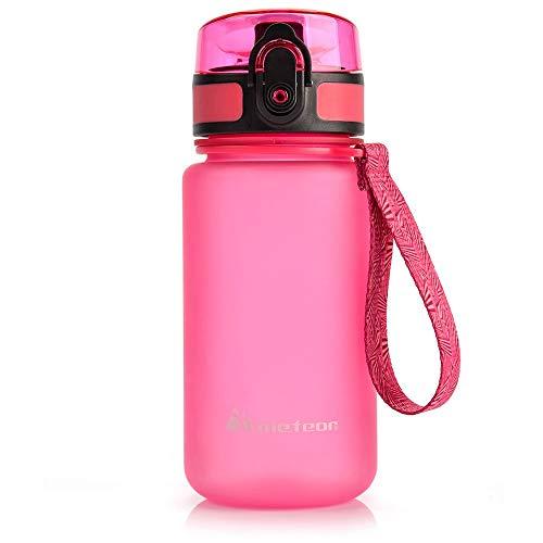 Botella Agua sin BPA Tritan Plastico Water Bottle Reutilizable para Niños Juventud y Adultos Ideal para Deportes Oficina Escuela Gimnasio Ciclismo Correr Picnic Varios Tamaños y Colores (350ml, Rosa)