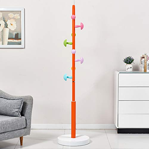 YHDP - Perchero de pie para niños, diseño creativo de dormitorio, 8 ganchos extraíbles de fácil montaje, color naranja