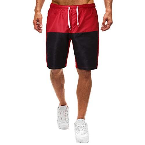 Xmiral Shorts Herren Reißverschluss Taschen Kordelzug Streifen Sports Kurze Hose (L, T2- Rot-Schwarz)