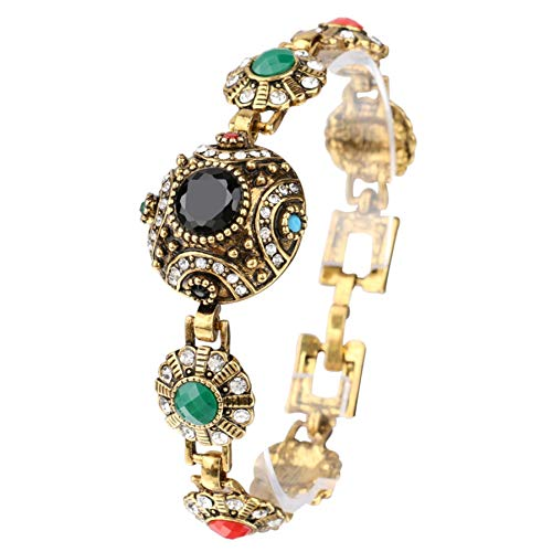 MHOOOA Mode Böhmischen Armreifen Für Frauen Legierung Farbe Altgold Einzigartige Schwarz Harz Armband Vintage Schmuck Kristall Geschenke