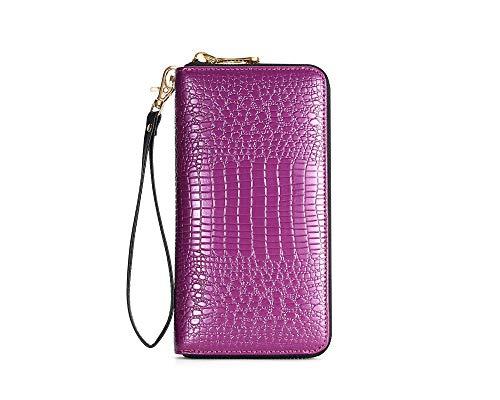 N-B Cartera de Cuero para Mujer Cartera Larga Multifuncional Americana Bolsa con Cremallera para teléfono móvil de Gran Capacidad