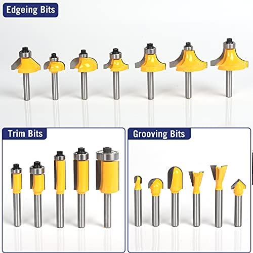 MNA Router Bits 35 Pcs Set, 35 Pieces 1/4 Inch Shank Router Bit Kit. American Router Bit Set Complete Set.