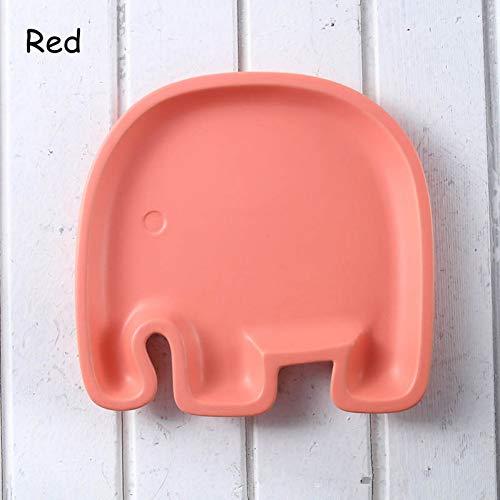 AAJKA Keramikteller Cartoon Charaktere Keramik Snack Teller Paella Schöne Kinder Platte Snack Gerichte Knödel Zum Frühstück Elefanten Tablett 1 Stücke, Rot