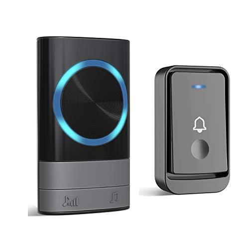 Dilusi Campanelli Wireless,Campanello Senza Fili Portatile Wireless Doorbell, 45 Suonerie, Indicatori LED, Portata 300m, 4 Volumi Selezionabili (1 Trasmettitore + 1 Ricevitori, Nero)
