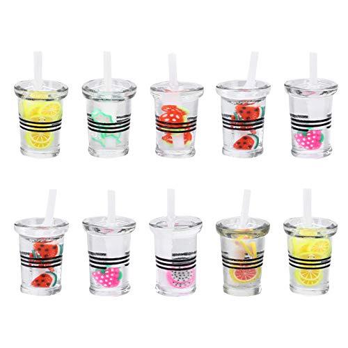 EXCEART Bebida Taza Encanto Botella Resina Mini DIY Taza Herramienta de Comida para DIY Pendiente Collar Pulsera Joyería 10 Piezas
