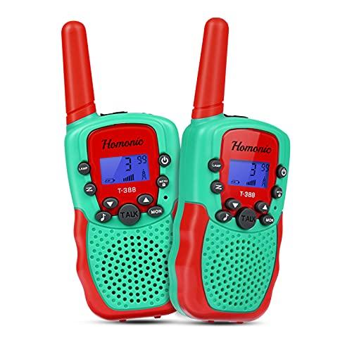 Walkie Talkie para Niños 2 x Radio, Juguete de Radio de Largo Alcance de 3km con 8 Canales, Linterna LED, Juegos para Niños de 3 a 12 Años