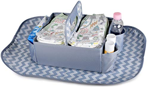 Baby Diaper Caddy Organizer with Changing Mat - Nursery and Crib Caddies for Newborn, Infant, Boy or Girl - Large Storage Pockets for Wet Wipes and Accessories - Easy to Clean - Baby Shower Present