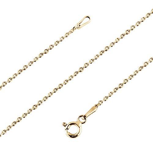 Avesano Ankerkette 24K vergoldet in 925 Sterling Silber für Frauen, Farbe Gold, Silberkette ohne Anhänger, Breite 1mm, Länge 40 42 45 50 60 70 cm, 101031-540