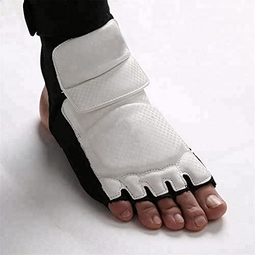 Marekyhm-es Taekwondo Cuero Foot Guantes Speca Karate Tobillo Protector Guardia Engranaje Boxeo Arts Martial Foot Guard Sock Adulto Kid (Color : White, Size : XS)
