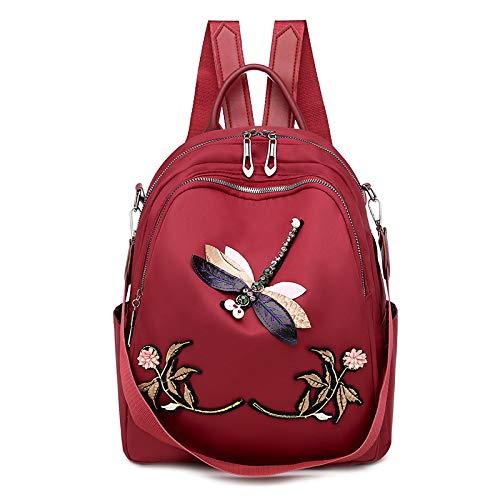 Aoliao Vielseitiger Damen-Rucksack, 33 x 13 x 28 cm, leicht, lässig, mit Libellen-Dekor, Oxford-Stoff, Schultertasche, einfarbig.