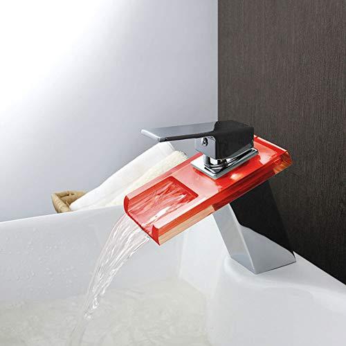 Grifo (agua), grifo de cobre con luz LED para cascada con control de temperatura y cambio de color, con grifo de lavabo de luz fría y caliente, ahorro de agua y a prueba de salpicaduras (color: grifo)