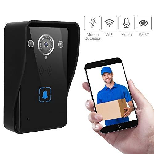 HD Video Deurbel, Draadloze WiFi Smart Visuele Deurtelefoon Intercom Security Camera met Nachtzicht, PIR Motion Detection, APP Afstandsbediening voor iOS en Android Zwart