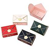 moin moin ラッピング プレゼントボックス | 封筒 手紙 型 シーリングワックス ろう スタンプ 英字 | ゴールドライン | 大容量パック (ホワイト/レッド/グリーン/ブルー × 5枚ずつ 20枚セット) 2007ra212