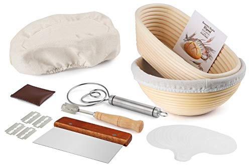 Bread Proofing Baskets Set, 9Inch Round and 10 Inch Oval Rattan Banneton Baskets, 2 Basket Covers, Metal Scraper, Stainless Whisk, Scoring Lame with 5 Blades and Case, 16 Stencils For Bakeware