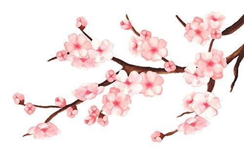 EmmiJules Muurtattoo bloemenrank kersenbloesem roze rankornament woonkamer slaapkamer bloem boom tak muursticker planten lente zomer
