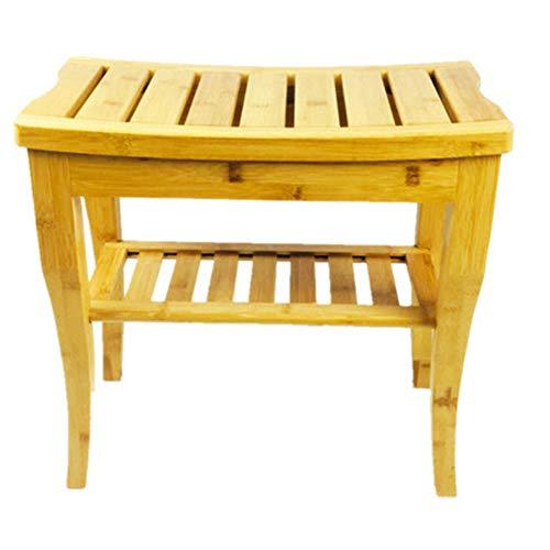 XINGHE Bambú Natural Taburete de Ducha, Silla de Ducha para Interiores o Exteriores, 2 Nivel de Madera Estante de Almacenamiento a Prueba de Agua Banco bañera de Esquina,Yellow