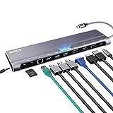 AZDOME 12 en 1 Adaptateur USB C Hub avec 4K HDMI, 1080P VGA, DP, RJ45 1Gbps LAN, Type...