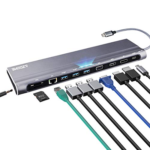 USB C Hub, AZDOME 11 in 1 Type C Adapter with 87W PD, 4K HDMI,VGA,RJ45 Gigabit Ethernet, Micro SD/SD Reader, USB 3.0, 3.5mm Jack for Macbook/MBP 2015/2016/2017/2018/2019, Chormbook Dell HP ASUS