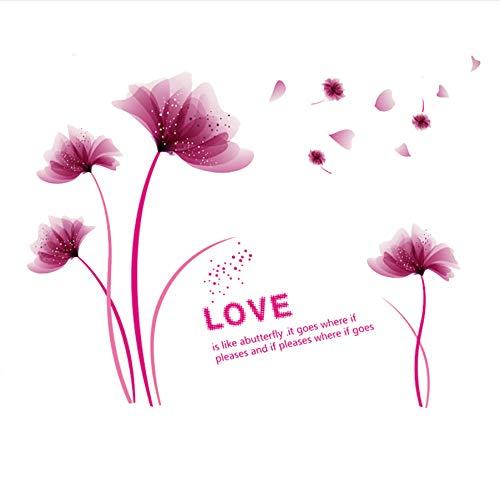 Zwyluck Romantische bloemen muurstickers roze paars liefde voor Home Decor Art Decals achtergrond decoratie sticker behang 125 * 150 cm