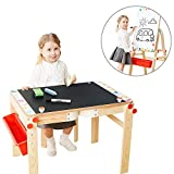 TOP BRIGHT Wooden Art Easel for Kids Art Table with Storage, Easel Desk for Toddler Adjustable